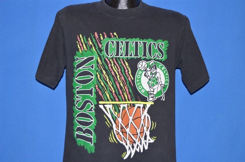 f77d7c9d6801 90s Boston Celtics Logo Neon Basketball t-shirt Large
