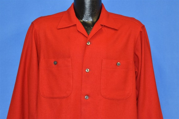70s Pendleton Red Wool Button Front Square Bottom