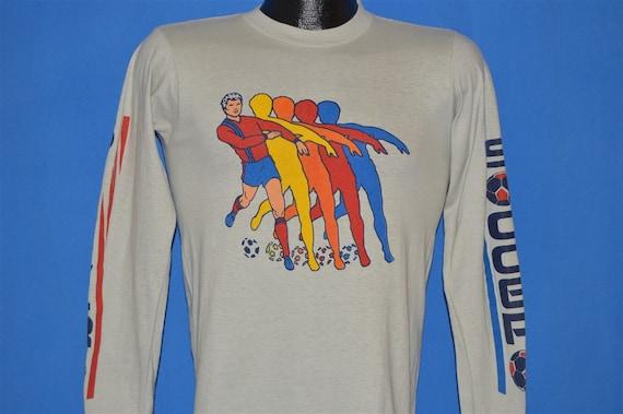 80er Jahre Regenbogen Fussball Langarm T Shirt Jugend Kleine