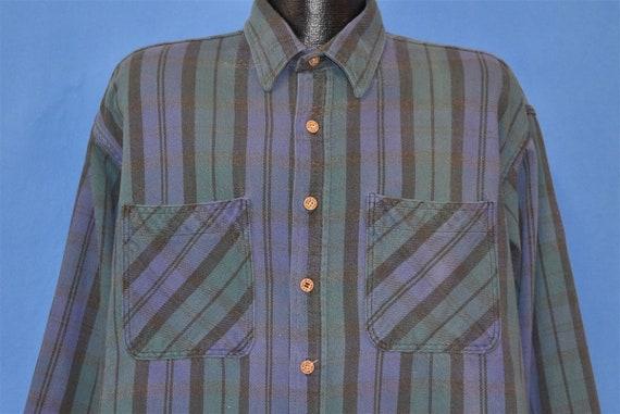 90s Big Mac Blue Purple Striped Flannel Workwear S