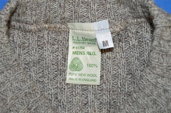 80s LL Bean Brown Wool Rib Knit Sweater Medium - image 4