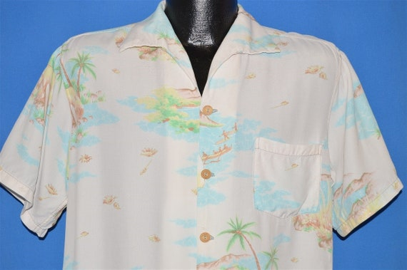 40s Aloha Hawaiian Surfing Rayon Loop Collar shirt