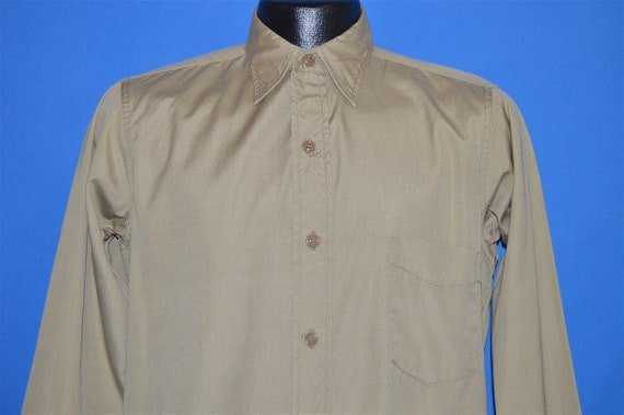 50s Khaki Military Work Shirt Button Down Pocket S