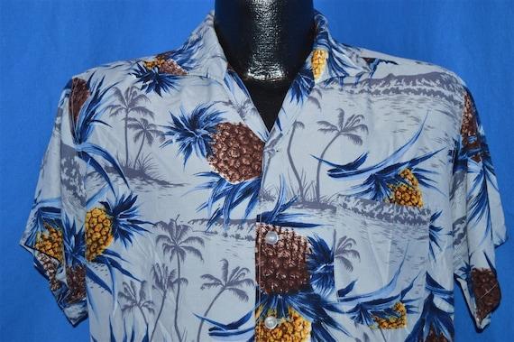 50s Sears Pineapple Rayon Aloha Hawaiian Shirt Med
