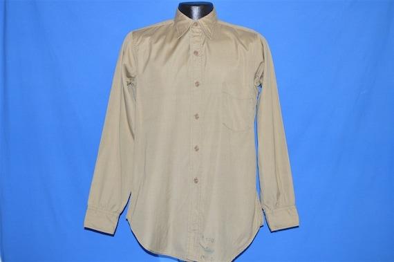 50s Khaki Military Work Shirt Button Down Pocket … - image 2