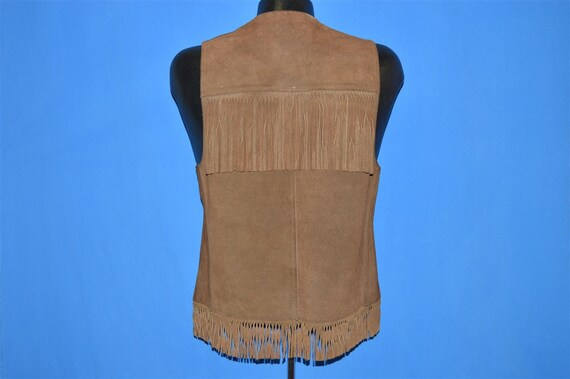 70s Suede Leather Fringe Vest Small - image 3