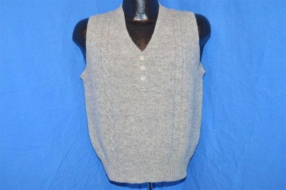 80s LL Bean Gray Vintage Shetland Wool Cable Knit… - image 2