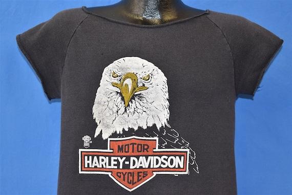 80s Harley Davidson Short Sleeve Sweatshirt Small