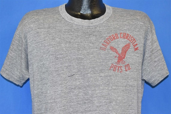 80s Harford Christian School Phys Ed Tri Blend t-s