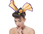 Plums Pin-Up Hair Bow, Yellow and Purple Headpiece
