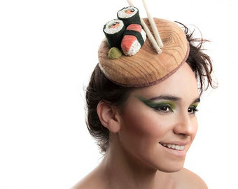 MADE TO ORDER Sushi Fascinator, Fresh and Tasty Food Hat