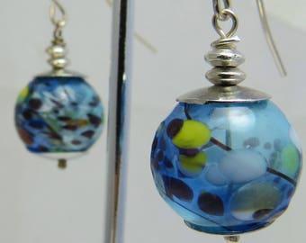 Hand Blown Blue Confetti Glass Sterling Silver Earrings