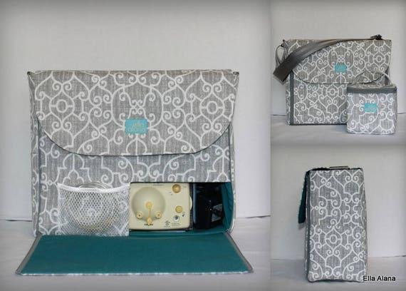 6275f6f133035 Alana style Breast Pump Bag in PP Ramey Lt Gray print