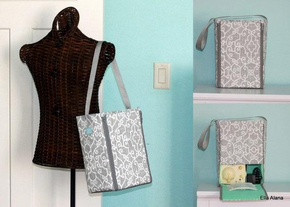 e34915ef773e8 Half size Ella style Breast Pump Bag in PP Ramey Lt Gray print with zipper  top closure