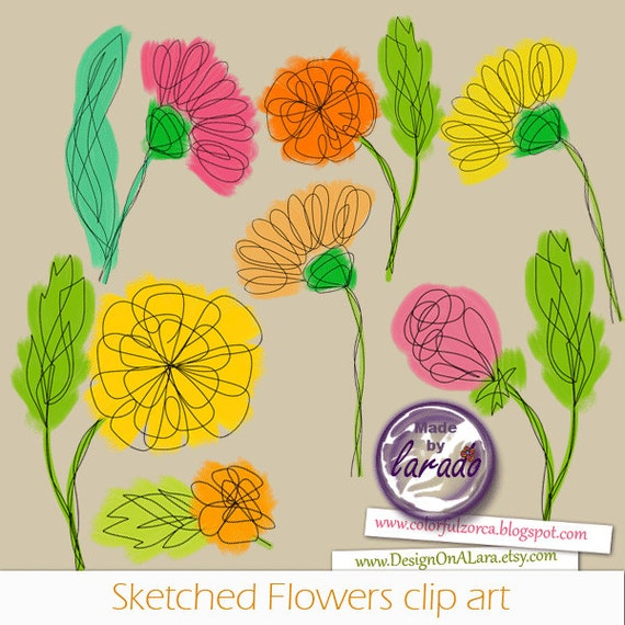 Sketched flowers cliparts spring flowers cliparts floral etsy image 0 mightylinksfo