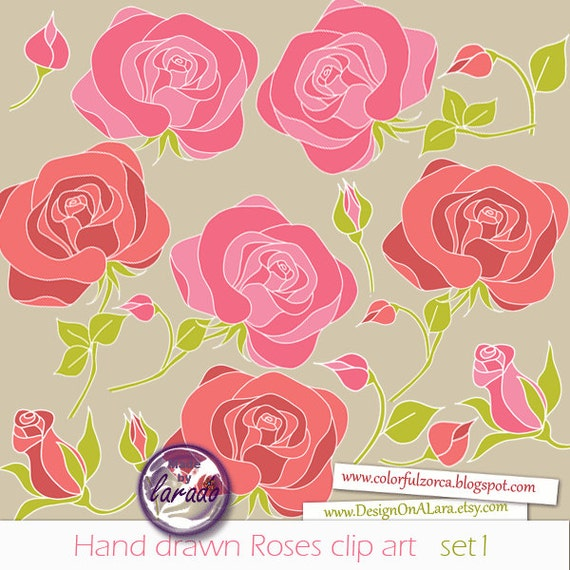 Hand Drawn Roses Clip Art Hand Drawn Flowers Floral Clipart Etsy