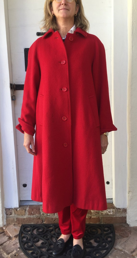 Red Evan-Picone wool overcoat-ladies Medium