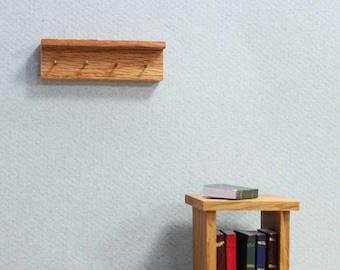 DOLLHOUSE Miniatures 1:12 Scale 4 HOOKS Miniature Walnut Wall Coat Rack