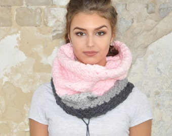 Clothing-gift Gray pink Chunky Scarf Womens Fashion Accessories snood Crochet tube cowl Gift for her scarves and wraps Women's Chunky Scarf