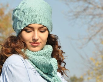 Hat Scarf Set Knit mint triangle chunky scarf for women Cowl Set Slouchy Beanie Hat Christmas gift Tassel Shawl  Boho Scarf Hipster Hat