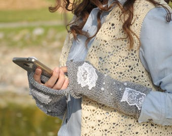 Slouchy Boho Glove mittens Long cable gray melange with lace trim & white pearl beads Fingerless Gloves Arm Warmers, Women Accessories