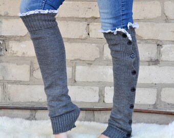 Gray Leg Warmers Boot socks Womens Boot Cuffs - Button Down gray and off white by TTAcc