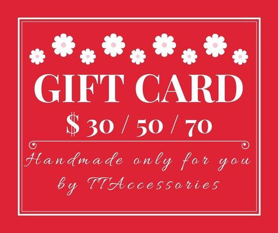 Gift Card USD 30 50 70 Buy Certificate Last Minute