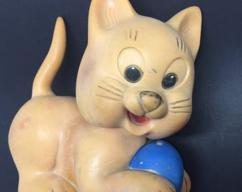 Vintage rubber squeak cat toy 1960's