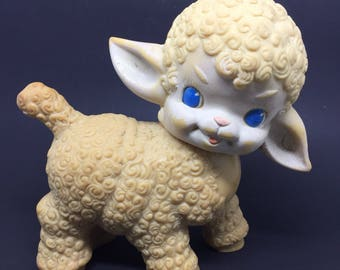 Vintage rubber squeaky lamb toy