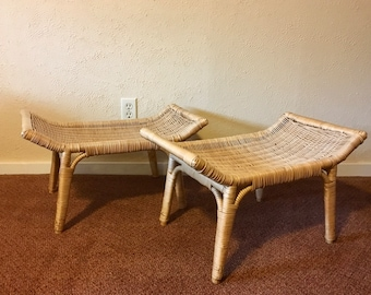 Pair of Vintage Plastic Coated Wicker Saddle Stools *Local Pick Up Only*