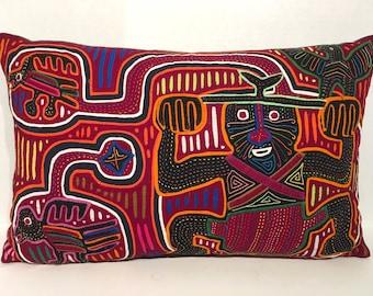 Man with Birds Mola Pillow Made w Vintage Handmade Mola Panel 19.5 x 12