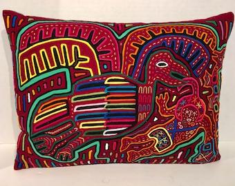 Bird and Man Mola Pillow Made w Vintage Handmade Mola Panel 17 x 12.75
