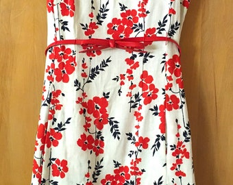 Vintage 1960s-70s Belted Sheath Printed Floral Linen Sleeveless Dress