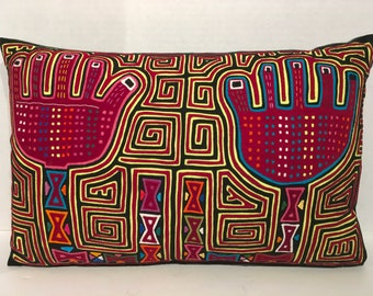 Two Hands Mola Pillow Made with Vintage Handmade Mola Panel 12 x 18