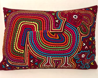 Rooster Hen Mola Pillow Made with Vintage Handmade Mola Panel 11 x 16