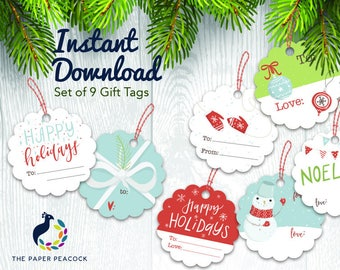 9 christmas gift tags instant download whimsical traditional print scalloped gift tag avery label templates 2 12 diameter