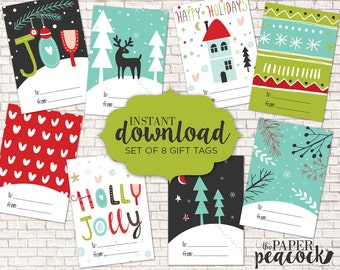 8 christmas gift tags instant download traditional whimsical print holiday gift tag avery sticky templates 2 13 x 3 38