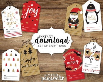 8 christmas gift tags instant download rustic modern print rectangle print tag avery scored templates cut to design