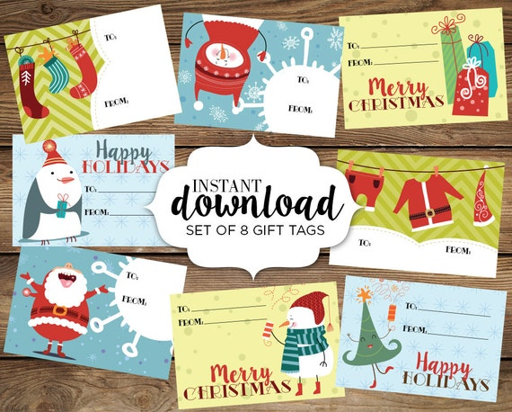 8 christmas gift tags instant download whimsical