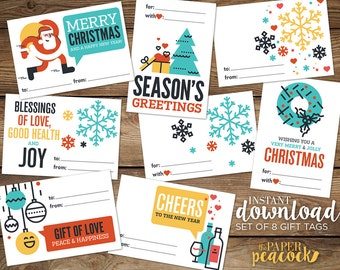 """8 Christmas Gift Tags -- Instant Download      Modern & Quote    Print Holiday Stickers, Avery Label Templates, 2-1/3"""" x 3-3/8"""""""