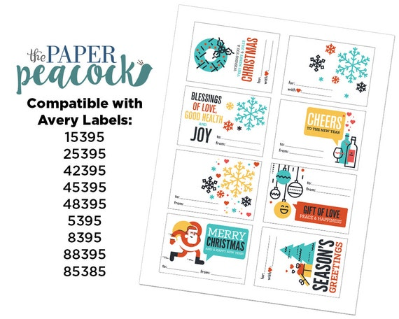 8 christmas gift tags instant download modern quote etsy