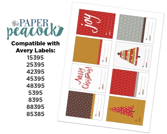 8 christmas gift tags instant download traditional etsy