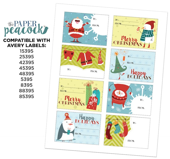 8 christmas gift tags instant download whimsical etsy