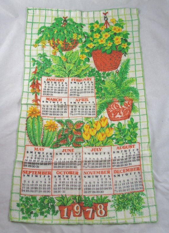 1978 Calendar Tea Towel Ferns House Plants Kitchen Linen Retro Etsy