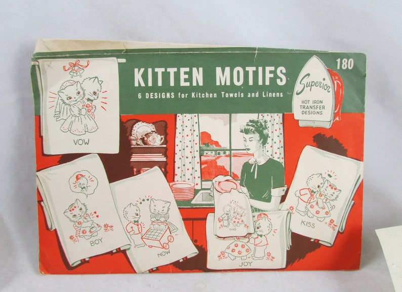 Romantic Kitten Motifs Hot Iron Transfer Designs Superior Vintage 1930s  1940s