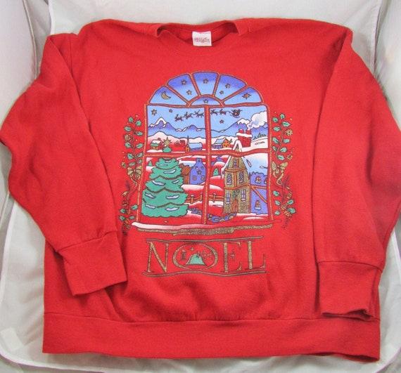 Santa Reindeer SleighPullover Sweatshirt Size XL A