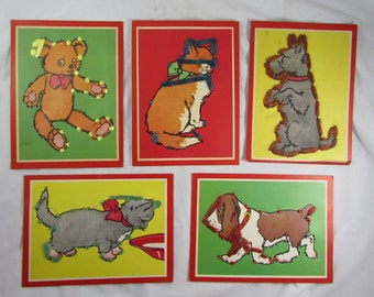 Animal Sewing Cards Dogs Cats Scottie Basset Hound Vintage