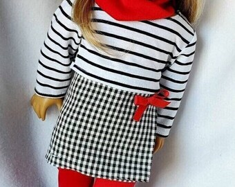 American Girl Doll Clothes, 18 inch Doll clothes, Doll Clothes Set,   'She's so Chic outfit with accessories