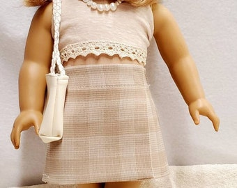 Fits American Girl doll and other 18 inch Doll clothes Desert Sand outfit short,top,headband,shoes