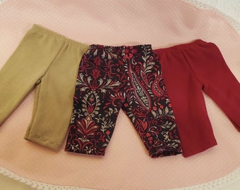 3 American Handmade Doll Clothes Made to fit like American Girl Doll clothes and Similar Dolls Wine Set of 3 Leggings, Capri Length Pants.